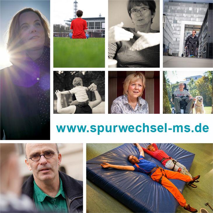 Collage von Fotos der Ausstellung Spurwechsel MS