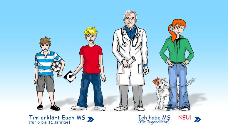 Comic mit drei Kindern und einem Arzt.