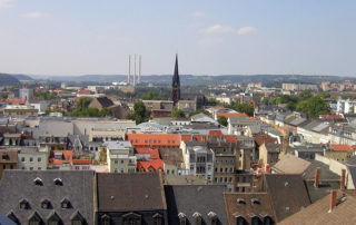 Blick vom Rathausturm über Gera, Fotograf: Schorle, CC BY-SA 3.0